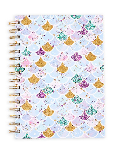 Glitter Mermaid Scale Spiral Notebook,PINK,large