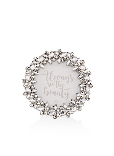 Round Rhinestone Picture Frame,SILVER,large