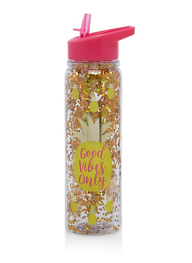 Good Vibes Only Glitter Flip Straw Water Bottle,PINK,large