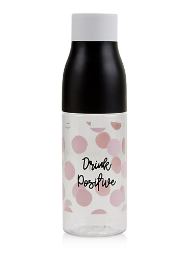 Drink Positive Polka Dot Water Bottle,PINK,large
