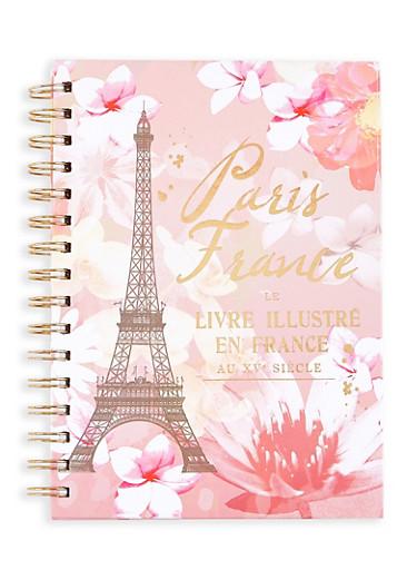 Paris France Graphic Spiral Notebook,PINK,large