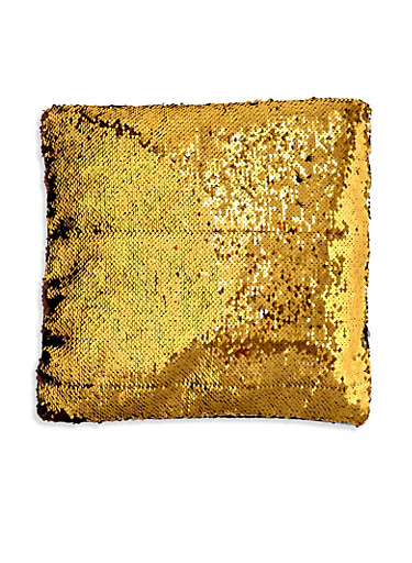 Reversible Sequin Square Pillowcase,YELLOW,large