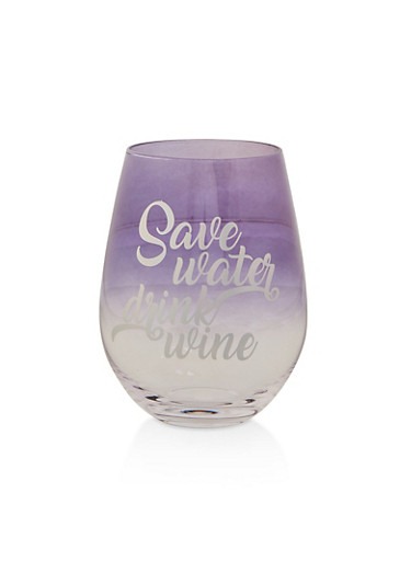 Save Water Drink Wine Glass,PURPLE,large