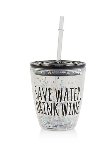 Save Water Drink Wine Sparkly Tumbler,BLACK,large