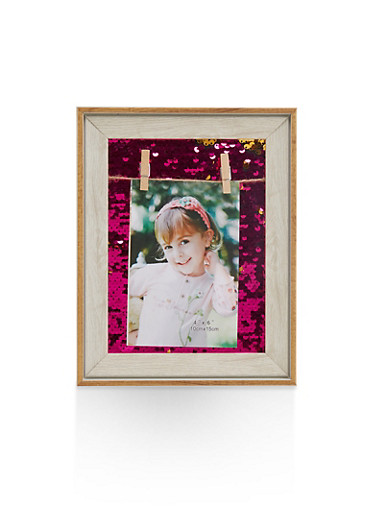 Reversible Sequin Clothes Pin Picture Frame,PINK,large