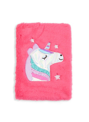 Faux Fur Unicorn Journal,PINK,large