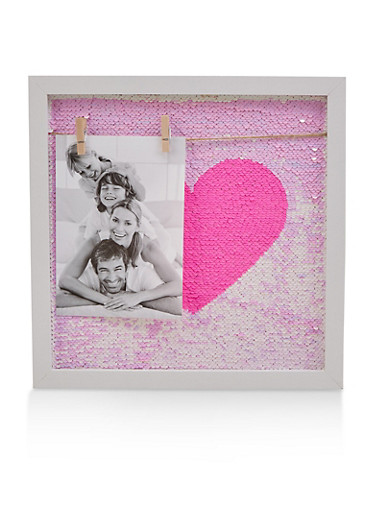 Reversible Sequin Heart Wall Art,PINK,large