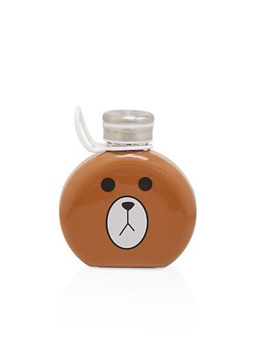 Bear Graphic Round Glass Flask   Brown,BROWN,large