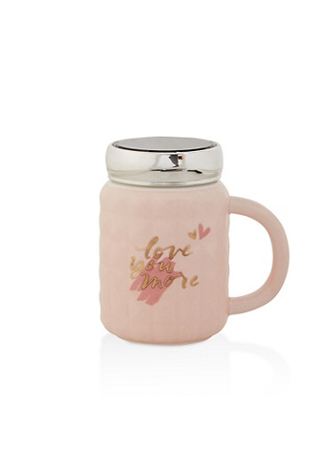 Love You More Ceramic Cup,PINK,large