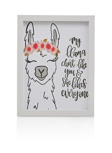My Llama Dont Like You Wall Art,WHITE,large