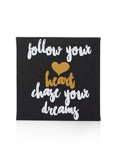Glitter Chase Your Dreams Wall Art,BLACK,large