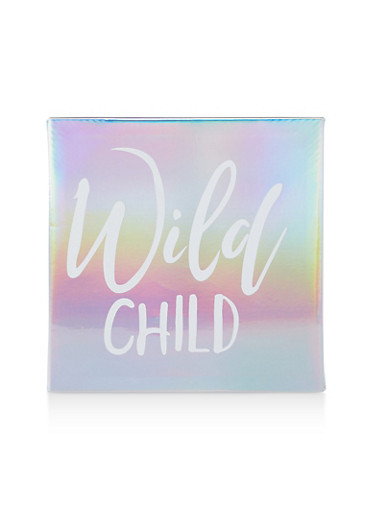 Wild Child Iridescent Faux Leather Wall Art,SILVER,large