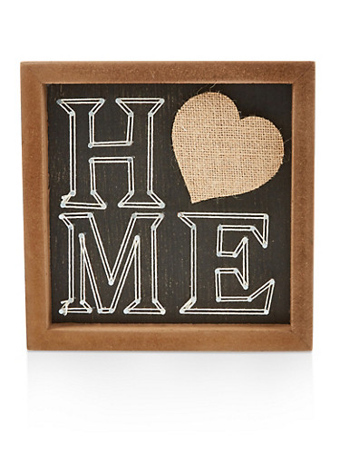 Home Wooden Box Sign,BLACK,large