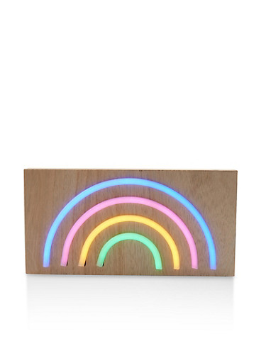 Rainbow LED Light Wooden Wall Art,MULTI COLOR,large