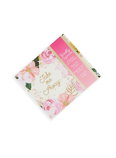 Magnetic Floral Weekly Organizer,MULTI COLOR,large