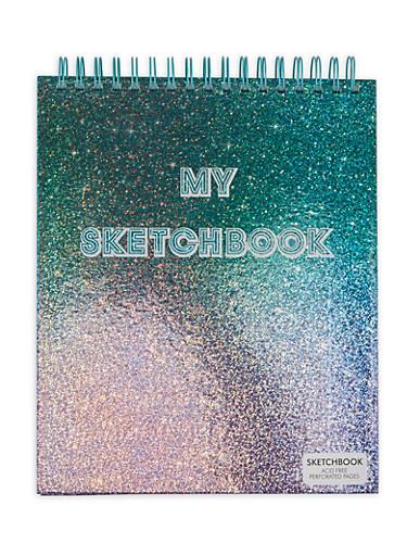 Glitter Spiral Sketchbook,WHITE,large