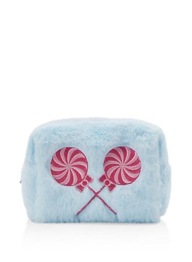 Lollipop Embroidered Faux Fur Pouch,BLUE,large