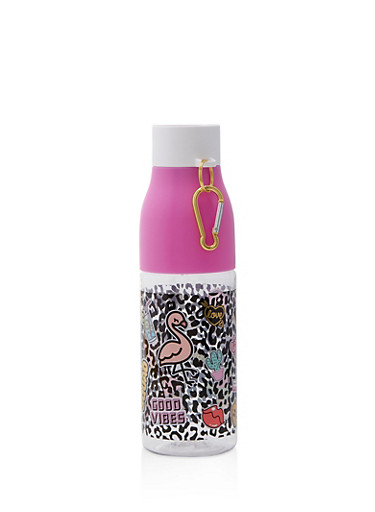 Summer Graphic Water Bottle,PINK,large