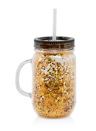 Eat Drink and Bee Happy Tumbler with Straw,BLACK,large