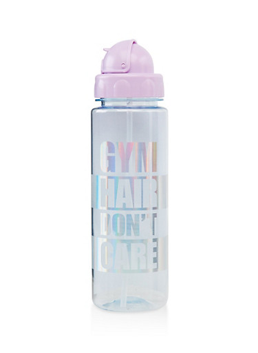 Gym Hair Dont Care Flip Straw Water Bottle,LAVENDER,large