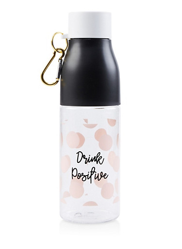 Drink Positive Polka Dot Water Bottle,CLEAR,large