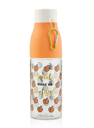 Squats Make Me Bootyful Water Bottle with Carabiner,PEACH,large
