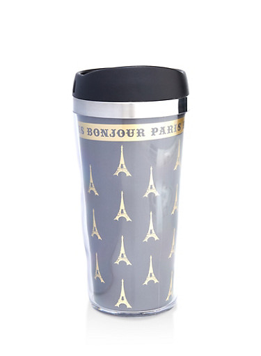 Bonjour Paris Travel Mug,BLACK,large