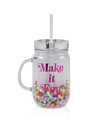 Make It Fun Pom Pom Tumbler with Straw,CLEAR,large