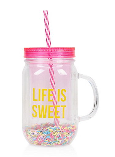 Life Is Sweet Sprinkle Tumbler with Straw,CLEAR,large