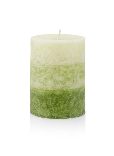 4 Inch Pillar Candle | Rainy Spring Day,GREEN,large