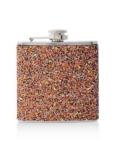 Orange Glitter Flask,GOLD,large