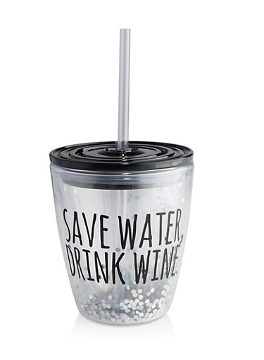 Save Water Drink Wine Confetti Tumbler with Straw,BLACK,large