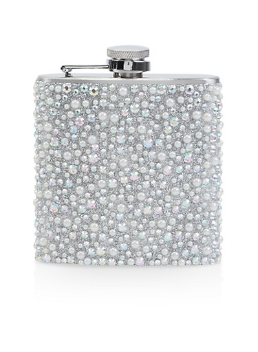 Rhinestone and Faux Pearl Studded Flask,SILVER,large