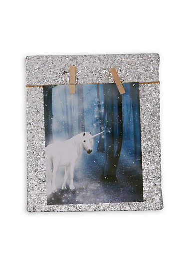Glitter Clothespin Photo Board,SILVER,large