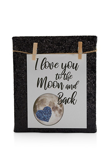 I Love You to The Moon and Back Clothes Pin Photo Board,MULTI COLOR,large