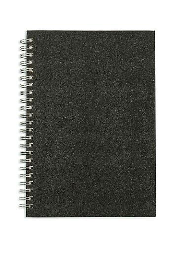 Black Glitter Spiral Notebook,BLACK,large