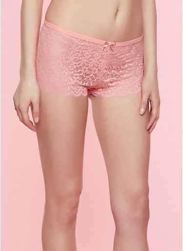 Caged Detail Lace Boyshort Panty,CORAL,large