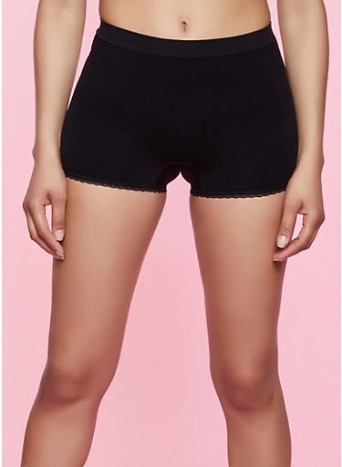 Lace Trim Shapewear Shorts,BLACK,large