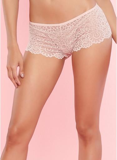 Pink Lace Boyshort Panties,PINK TOPAZ,large