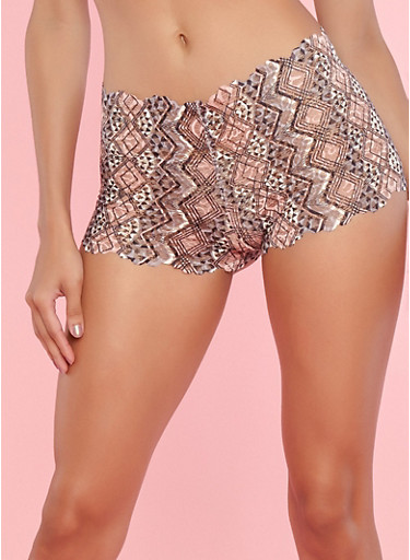 Aztec Pattern Lace Boyshort Panties,PINK TOPAZ,large