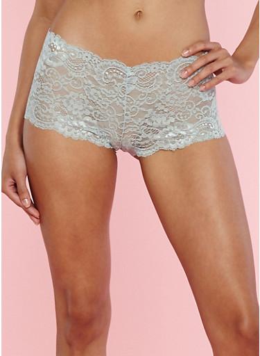 Metallic Ring Detail Lace Boyshort Panties,SAGE,large