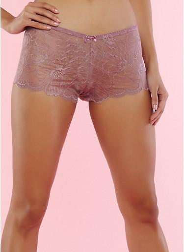 Floral Scallop Lace Boyshort Panties,LILAC,large