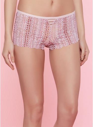 Caged Printed Boyshort Panty | 7150035160755,ROSE,large