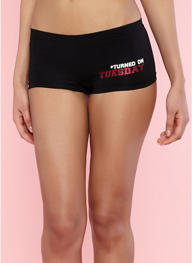 Day of the Week Boyshort Panties,BLACK,large