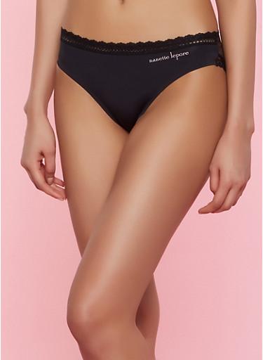 Lace Back Bikini Panty,BLACK,large