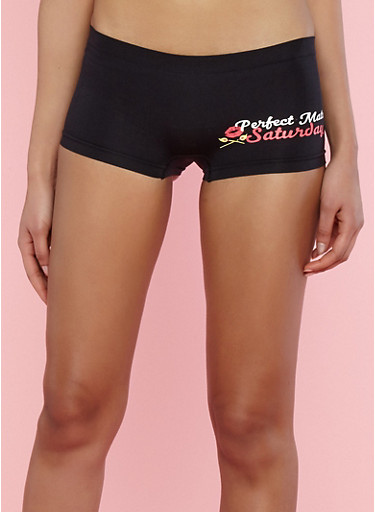 Seamless Day of the Week Graphic Boyshort Panties,BLACK,large