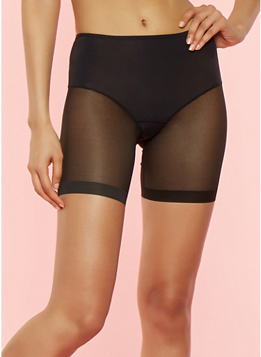 Mesh Leg Shapewear Shorts,BLACK,large