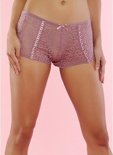 Floral Lace Up Trim Boyshort Panties,LILAC,large