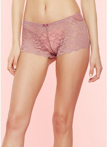 Lilac Lace Boyshort Panties,LILAC,large