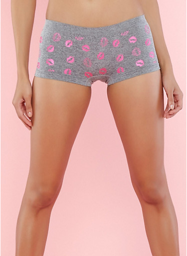 Lip Print Boyshort Panty,HEATHER,large